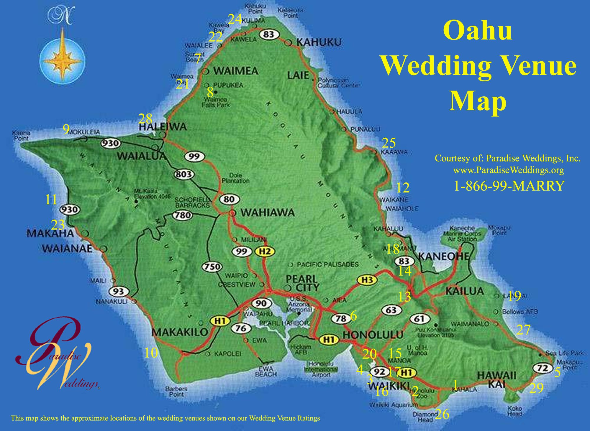 Oahu Hawaii  Oahu Wedding Venue Map  Oahu Hawaii