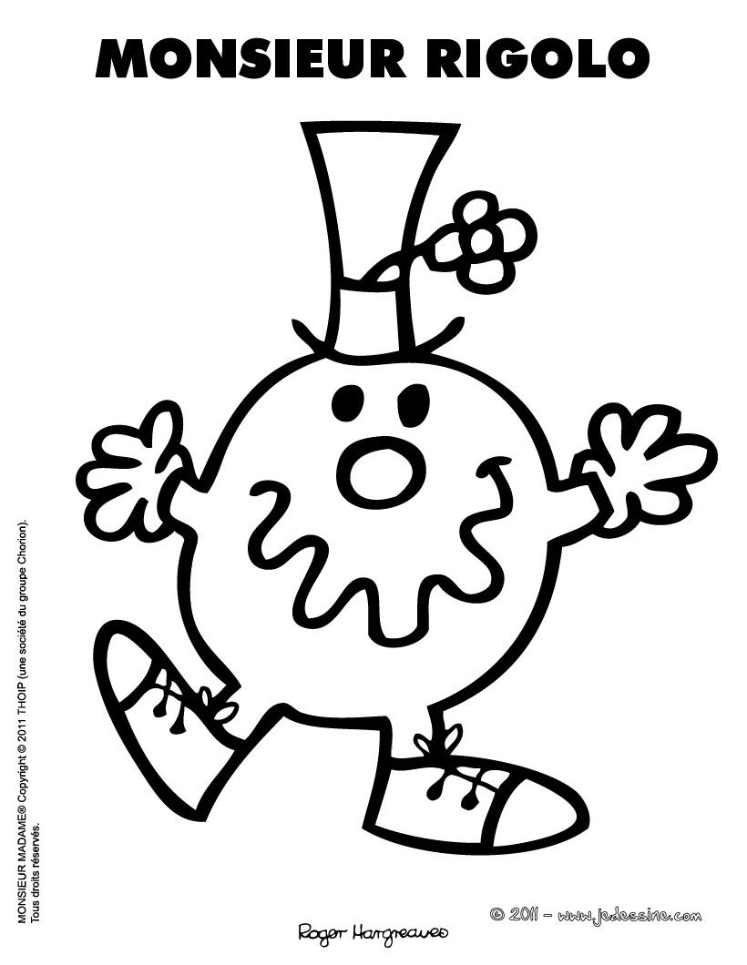 Monsieur rigolo coloring pages mr men mr men little miss et silhouette portrait - Dessin rigolo ...