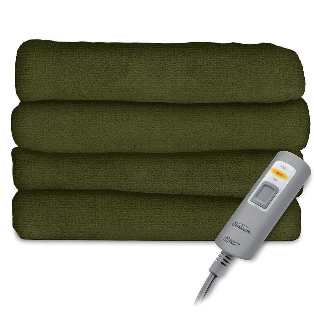 Sunbeam Velvet Plush Electric Heated Throw Blanket Ivy | Products ...