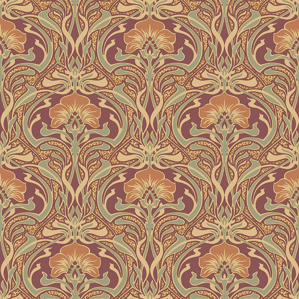 Crown 56 4 Sq Ft Donovan Burnt Sienna Nouveau Floral Wallpaper