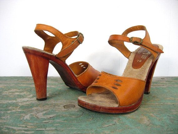 High Heel Sandals / 1970s / Wood and Leather by SmallEarthVintage, $64.00