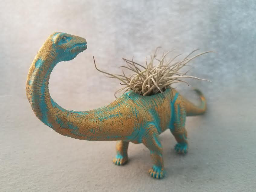 #EndHateosaurus https://www.etsy.com/shop/EndHateosaurus  Gold Turquoise Up-Cycled Toy Dinosaur Planter
