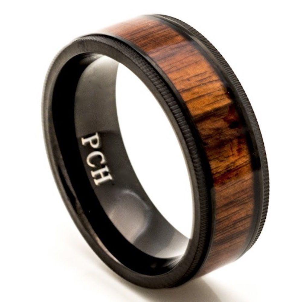 Mens 8mm Titanium Ring Domed Milgrain Edge with Hawaiian Koa Rosewood Inlay Titaniam Wedding Band