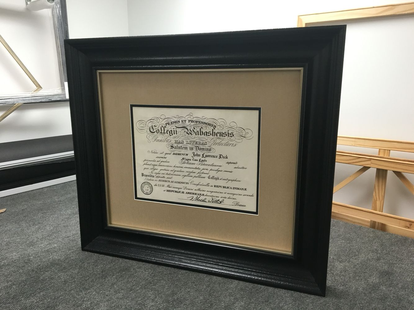 Wabash College diploma with large scoop frame antireflective glass ...