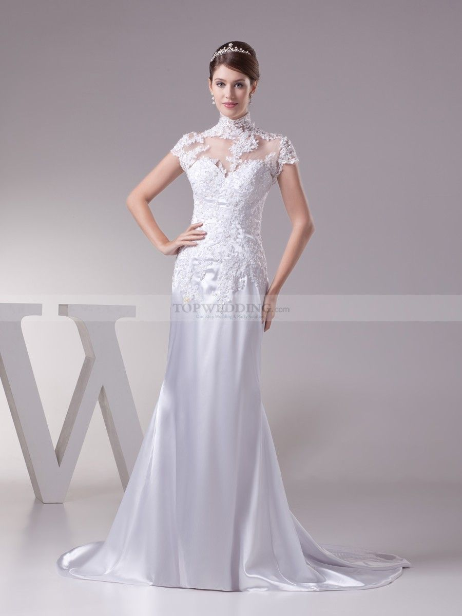 Lace High Neck Princess Cut Wedding Dress with Sheer Allure ...