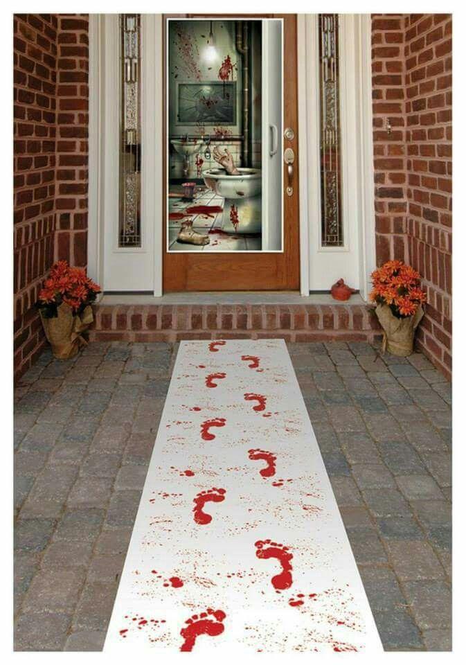 White table runner, red washable paint, paint brush for splatter