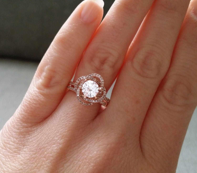 Matching Bridal Set Halo White Sapphire Diamond Ring Gemstone