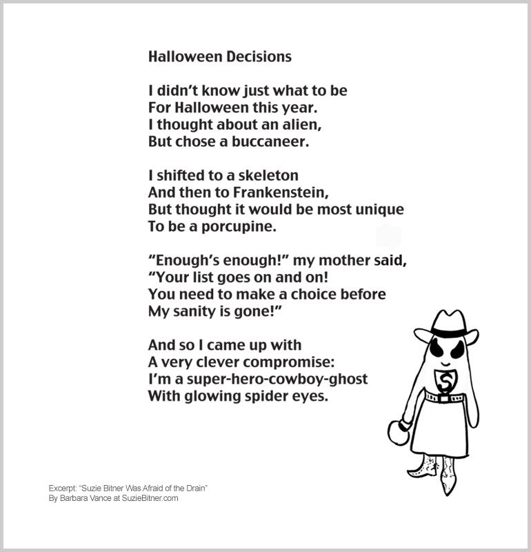 Halloween Decision Poem Barbara Vance Official Website Funny About Choosing A Costume Great For Sch Essay Writing Skill Kid Poems