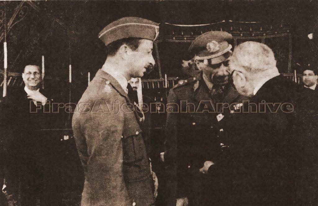 في صورة نادرة عبد الاله الوصي و توفيق السويدي رئيس الوزارة يتحدثان الى ملك افغانستان محمد ظاهر شاه عند زيارته الى العراق عام 1950 و Baghdad Iraq Historical