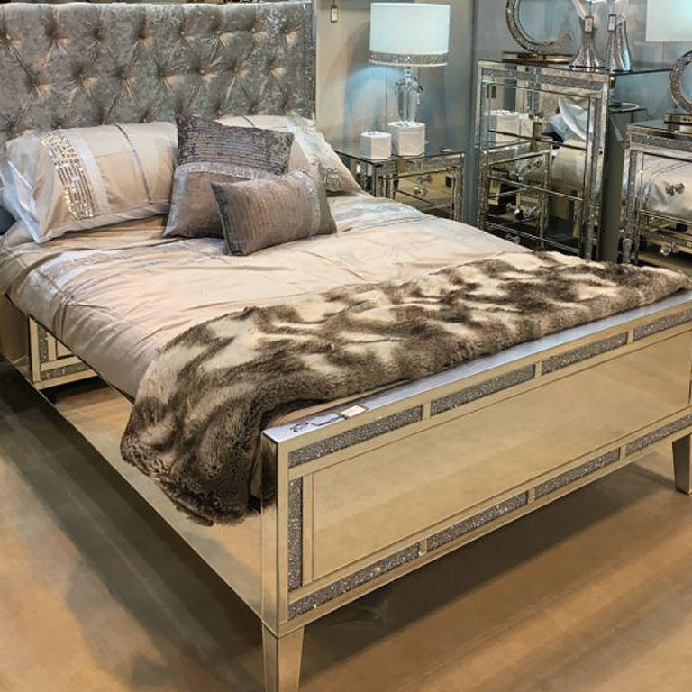 Diamond Glitz Mirrored King Size Bed King Size Bed Bed Frame King Size Bed Frame