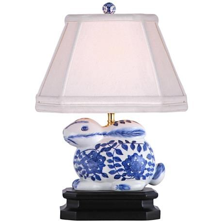 Blue And White 16 H Porcelain Bunny Accent Table Lamp 2x968 Lamps Plus In 2021 Lamp Table Lamp White Porcelain