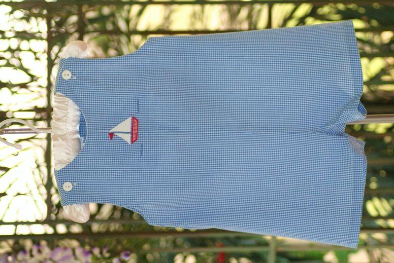 Petit ami royal blue gingham shortall with sailboat applique jolly