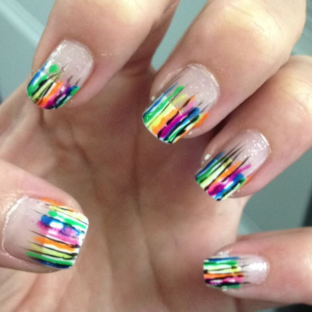 Migi nail art streaks over LA colors white tips and Sally hansen ...