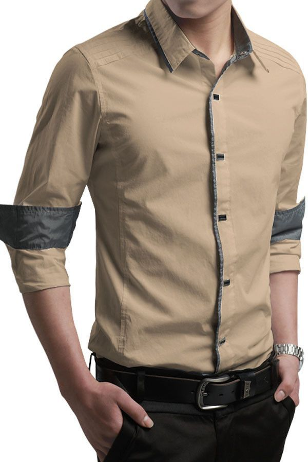 Button-Down Front Modern Slim Fit Khaki Mens Shirt | Slim fit khakis