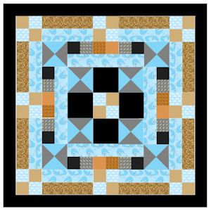 Beautiful geometric design 32 inch square lap or baby quilt. Made entirely of squares and triangles. Easy when you learn the speed cut and sew technique.