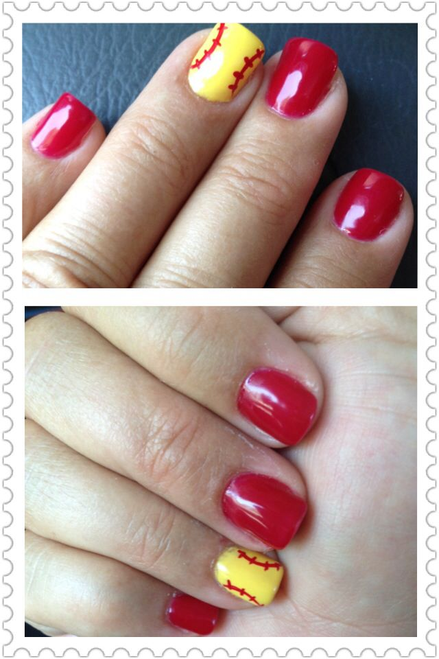 Softball nail art - Softball Nail Art Toe And Finger Nail Art Pinterest Softball