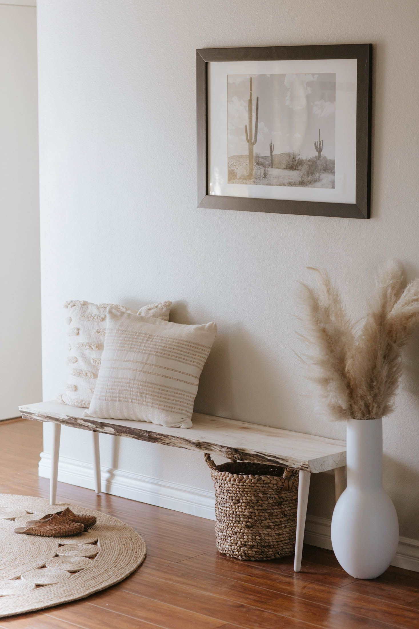 Modern Live Edge Bleached Maple Entry Bench, Living Room Decor Inspiration