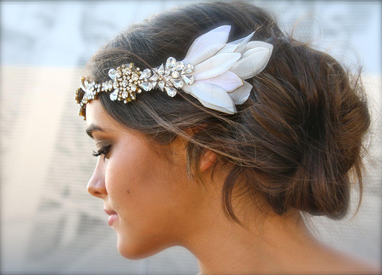 vintage swarovski crystal hippie headband with silk petal sides 40000 via etsy vintage wedding headpiecesvintage