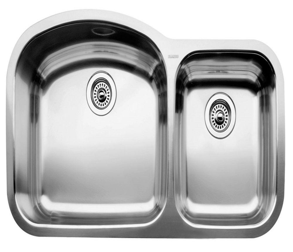 Blancowave U 1 Double Bowl Undermount Kitchen Sink Stainless S Stainless Steel Kitchen Sink Undermount Double Bowl Kitchen Sink Stainless Steel Kitchen Sink