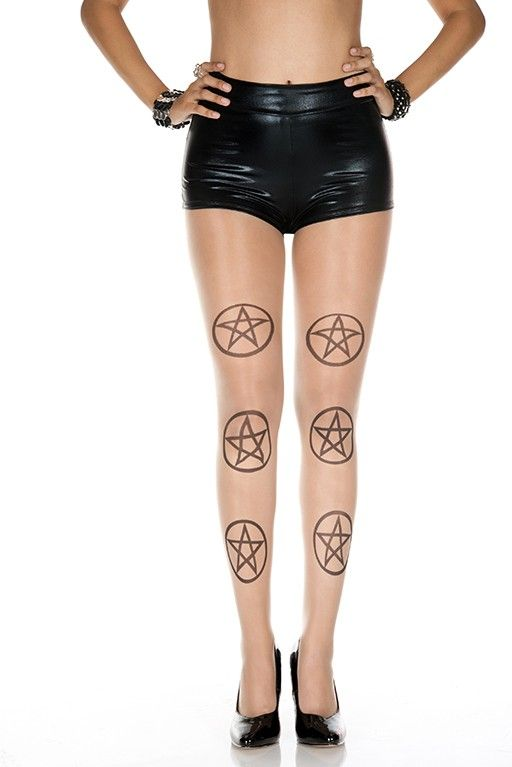 #MusicLegs #StaySexy www.fifty-6.com ml7303 -BEIGE/BLACK Five point star pentagram design spandex #pantyhose