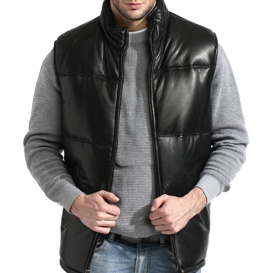 Men's Black Lambskin Leather Puffer Vest Leather jacket