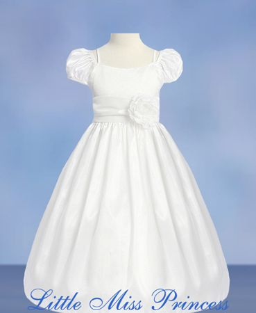 Cap Sleeved White Flower Girl Dress with Attachable Flower ...