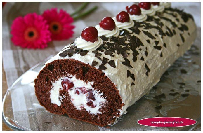Glutenfreie Schwarzwälder-Kirsch-Rolle! Ein köstliches Kuchenvergnügen! www.rezepte-glutenfrei.de