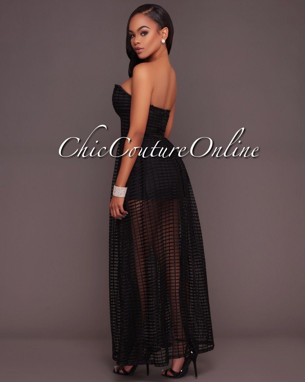 87232f1d0ab2 Chic Couture Online - Benita Black Textured Mesh Romper Maxi Dress