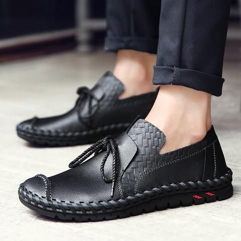 men's fashion slip ons  casual work shoes leather formal