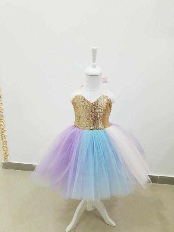 75e848d96 Girls sequin birthday dress, unicorn theme dress, unicorn dress, baby gold  sequin dress, rainbow tulle baby dress, girls sequin halter dress