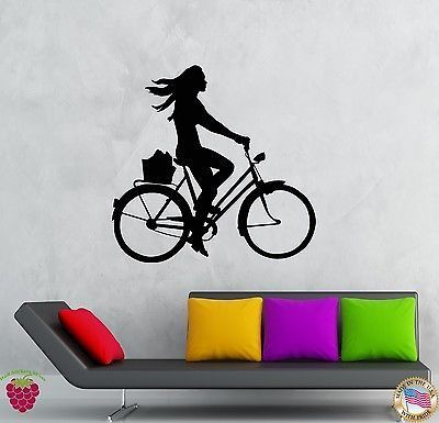 Wall Stickers Vinyl Decal Girl Riding A Bike Sport Fitness (z2085)