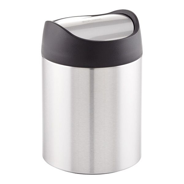 Simplehuman Stainless Steel Swing Lid Countertop Trash Can Glass