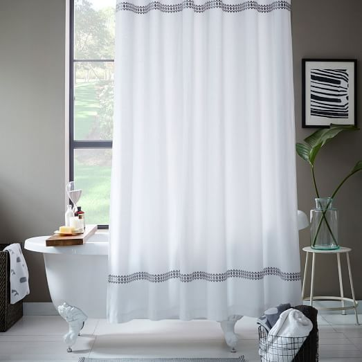Facet Border Shower Curtain | West Elm | bathroom | Pinterest ...