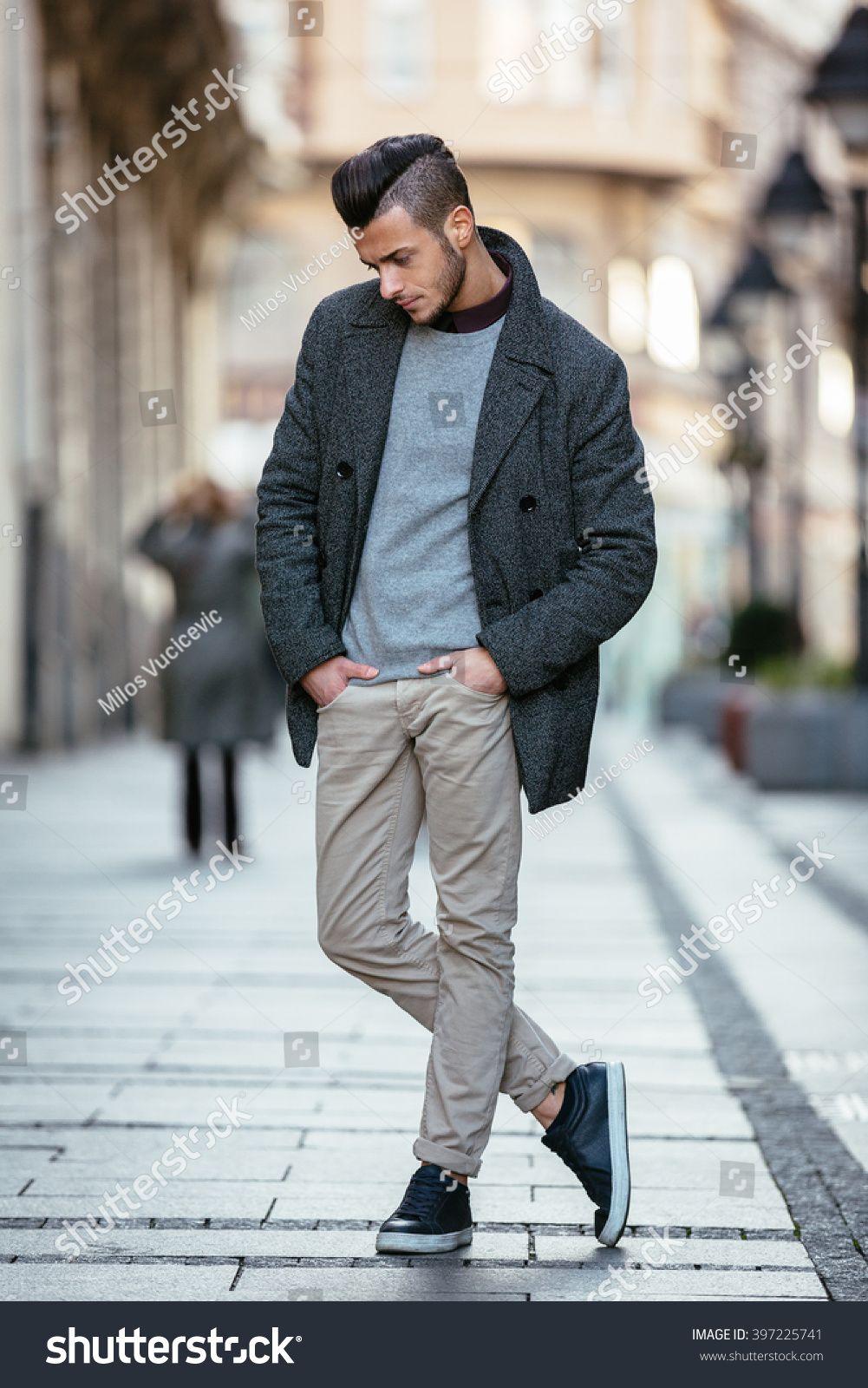 Portrait Of Young Handsome Stylish Man In Elegant Coat Outdoor