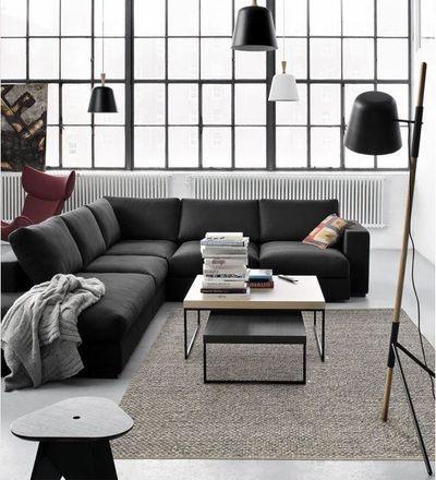 Aménager Son Salon Séjour Avec Idées Modernes Méridienne Angles - Canapé 3 places pour decoration salon cuir noir
