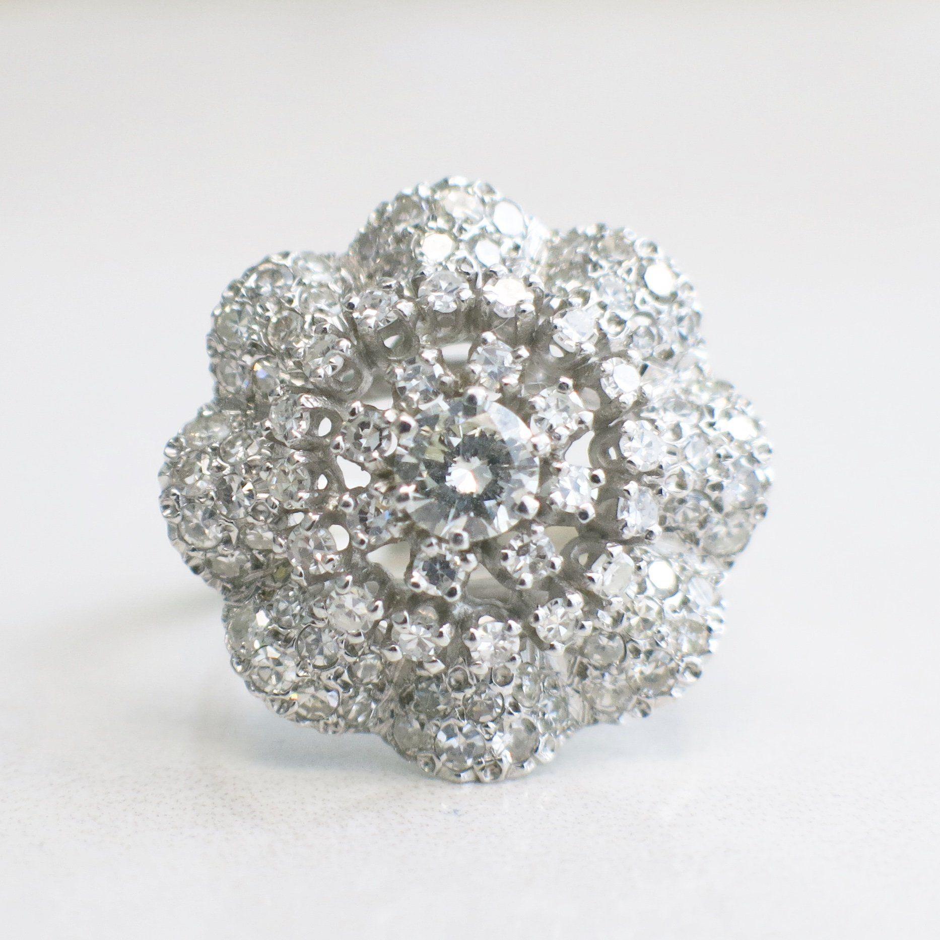 18k white gold vintage edwardian art nouveau diamond