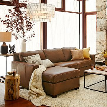 Henry Leather 2Piece Chaise Sectional westelm living room