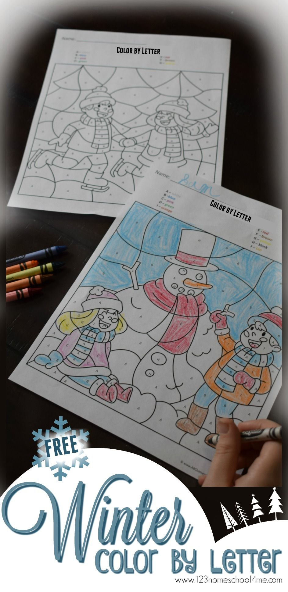 FREE Winter Color by Letter Worksheets February