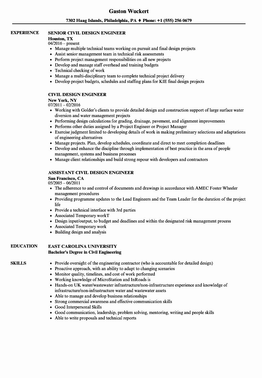 Civil Engineer Resume Examples Fresh Civil Design Engineer