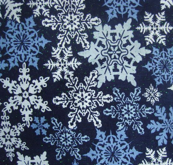 Holiday Inspirations-Stamped Flakes Navy Glitter Fabric