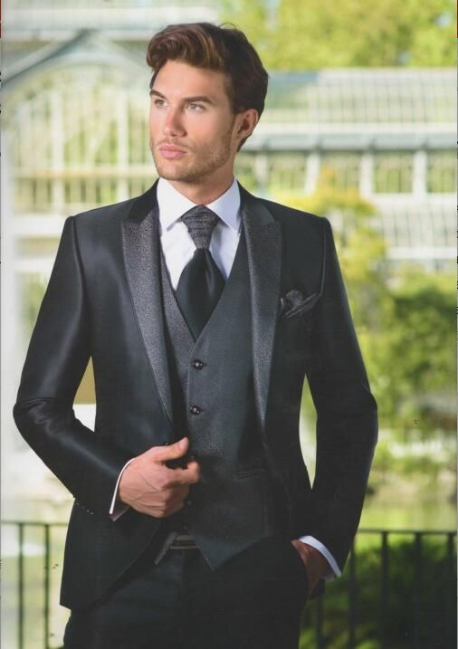 2017 Latest Coat Pant Designs Black Satin Men Suit Slim Fit Skinny 3 ...