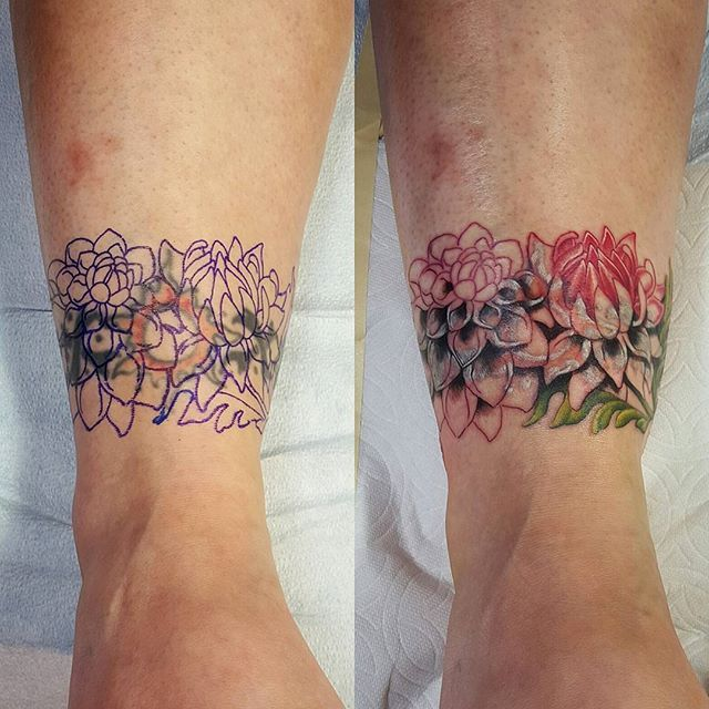 Old Ankle Band Cover Up Phase One More To Come Later Rachelgilbert Cover Tattoo Ankle Band Tattoo Ankle Tattoo Cover Up