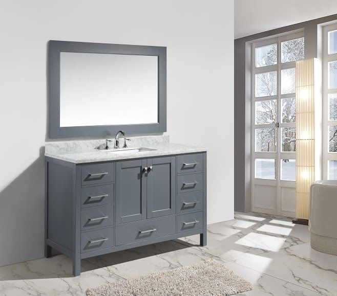 London 54″ Single Sink Vanity Set In White Finish  Design Element Captivating Design Element Bathroom Vanity Design Ideas