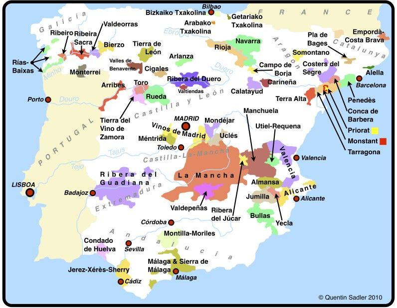 Spanish Wine Regions Map WordPress