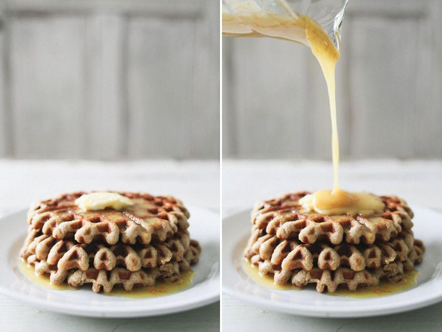 almond + yogurt waffles with orange honey syrup