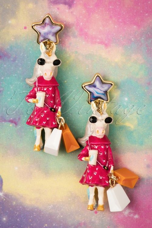 N2 - 60s Fashionable Unique Unicorn Earrings Gold Plated