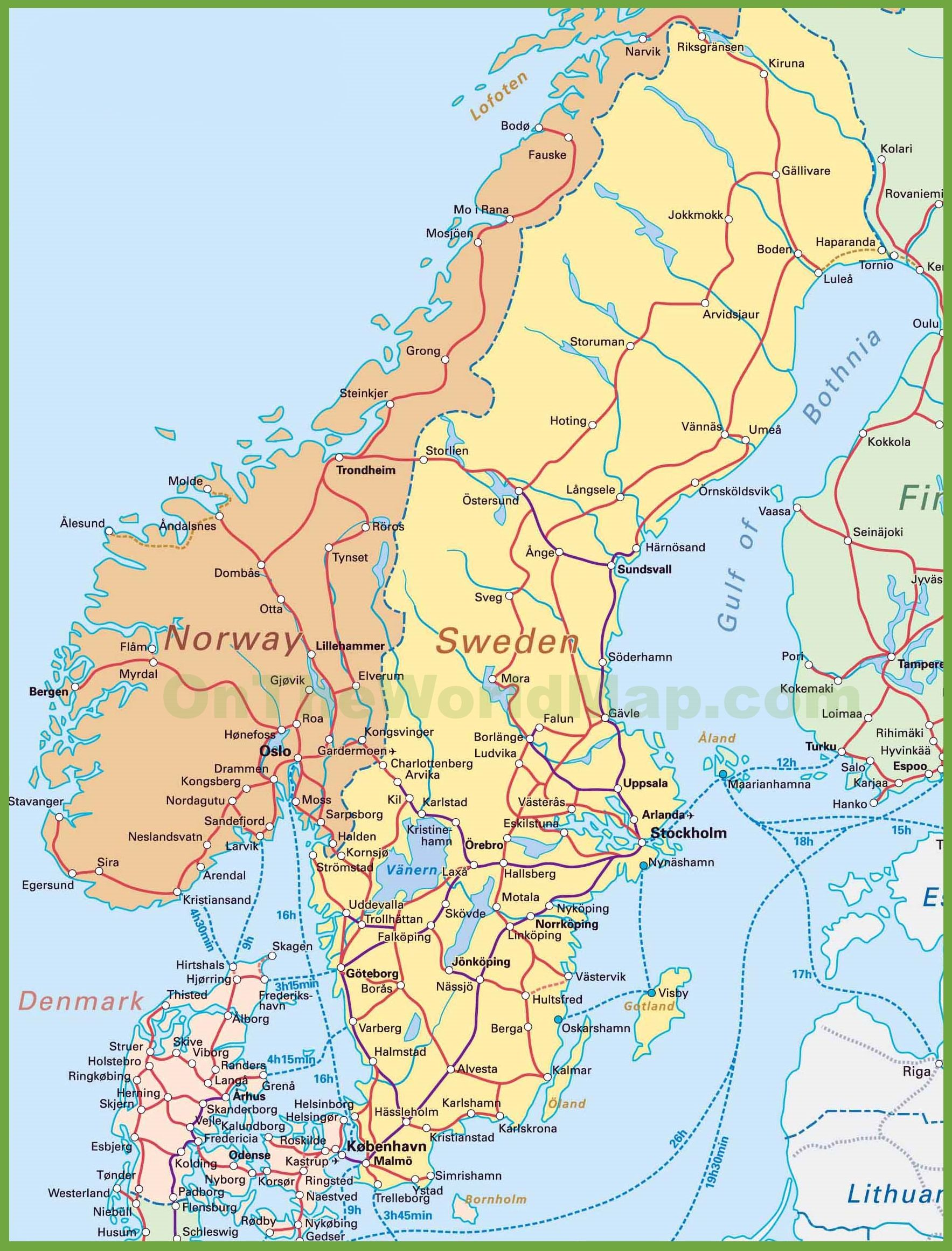 Map of Sweden, Norway and Denmark | Swedish people in 2019 | Sweden Swedish Train Map on