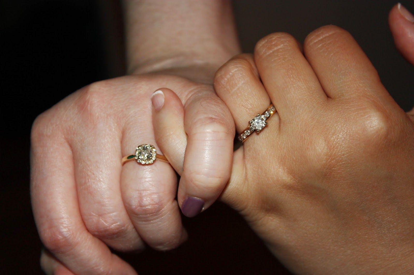 Lesbian wedding Two Bride Engagement rings from Robert Lance