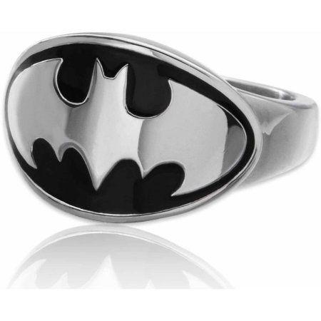 Batman Mask Symbol Ring Dark Knight Steel Black DC Comics