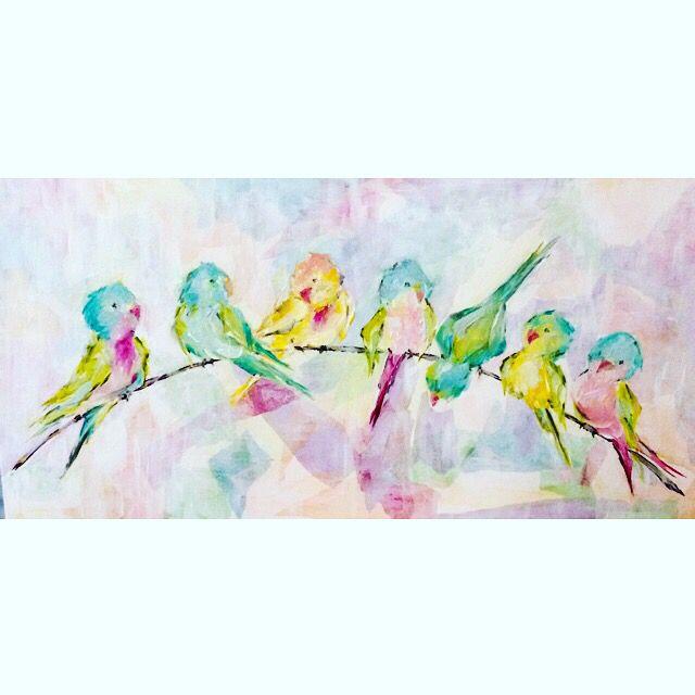 Princess Parakeets - Mixed Media - Acrylic/Art Tissue by Susan Pepe